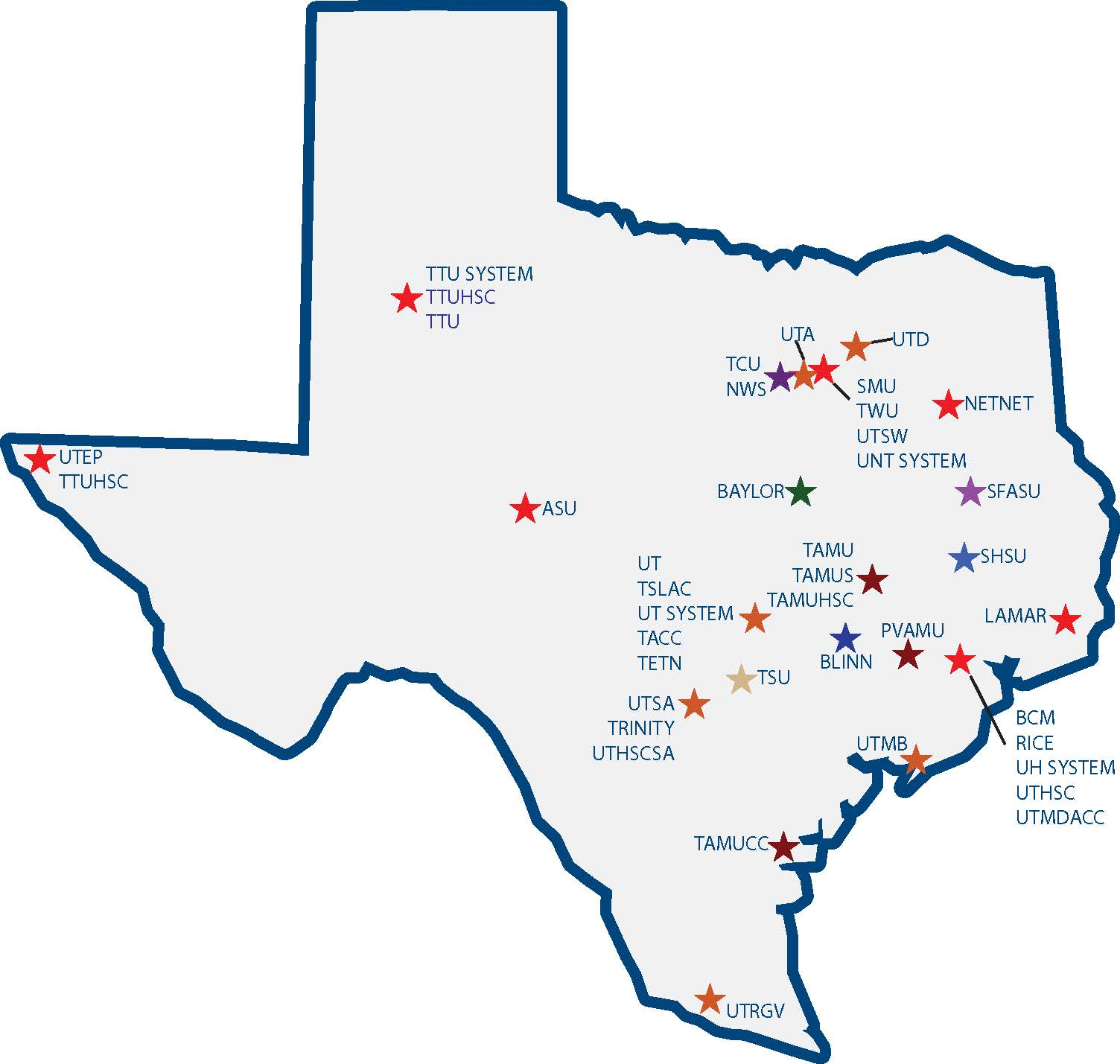Map Of Colleges In Texas